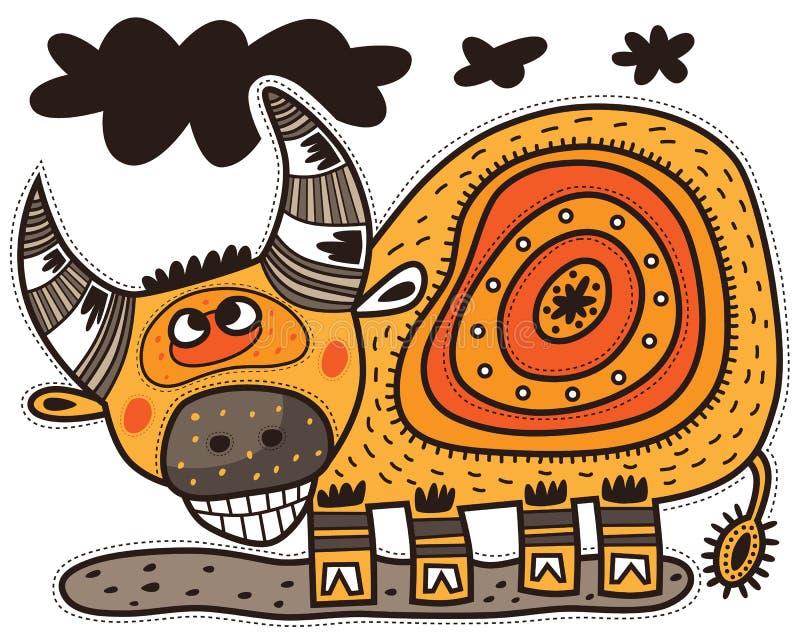 Uśmiechnięty dekoracyjny byk royalty ilustracja
