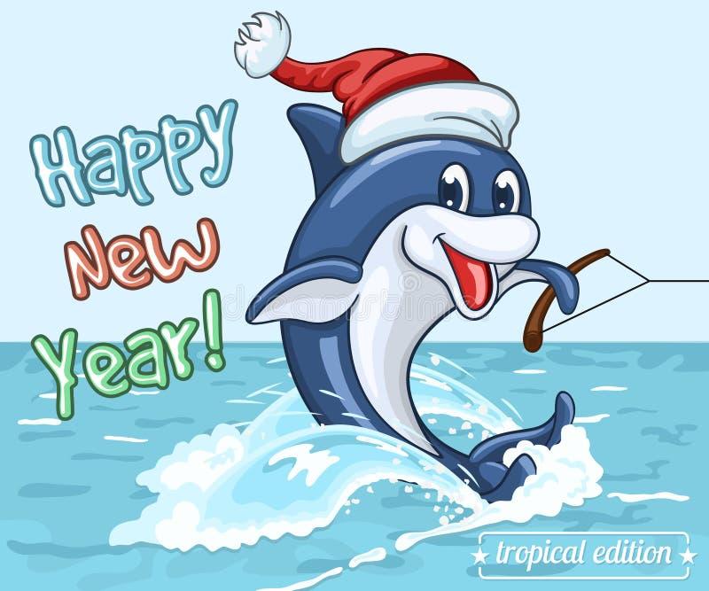 Uśmiechnięty delfin w Święty Mikołaj nakrętce jedzie na jego ogonie na wodnych nartach jak royalty ilustracja