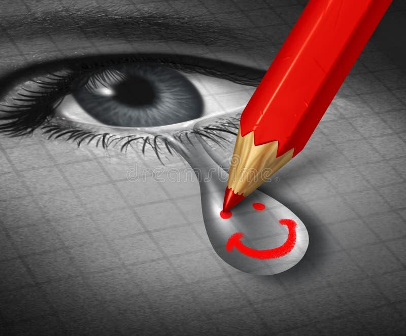 Uśmiechnięty depresji psychologii pojęcie ilustracji