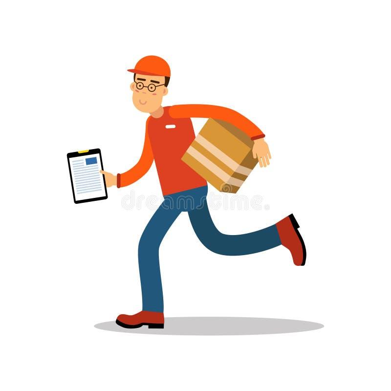 Uśmiechnięty doręczeniowego mężczyzna bieg z cardbox, kurier w mundurze przy pracy postać z kreskówki wektoru ilustracją ilustracji