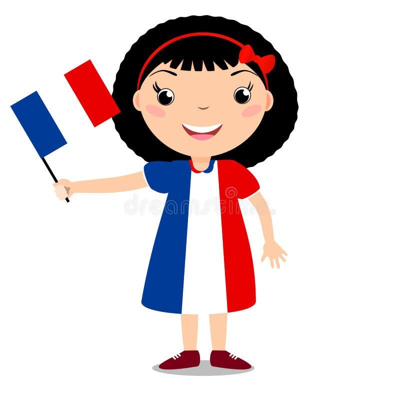 Uśmiechnięty dziecko, dziewczyna, trzyma Francja flaga odizolowywająca na białym bac ilustracji