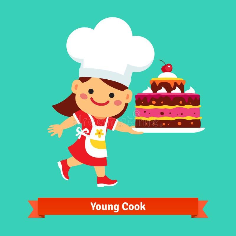 Uśmiechnięty dziewczyna kucharz trzyma dużego urodzinowego tort ilustracja wektor