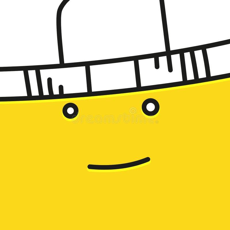Uśmiechnięty emoticon z kapeluszową wektorową ikoną wypełniający mieszkanie znak dla mobilnego pojęcia i sieć projekta Kierownicz ilustracja wektor