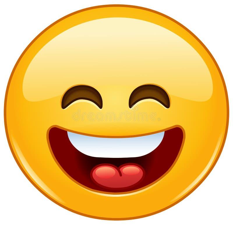 Uśmiechnięty emoticon z otwartym usta i ono uśmiecha się ono przygląda się royalty ilustracja