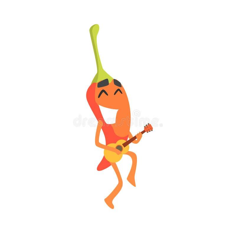 Uśmiechnięty Gorący Chili pieprzu Zhumanizowany Emocjonalny Płaski postać z kreskówki Bawić się Smal ukulele gitarę royalty ilustracja