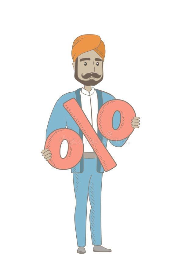 Uśmiechnięty hinduski biznesmen trzyma procentu znaka ilustracji