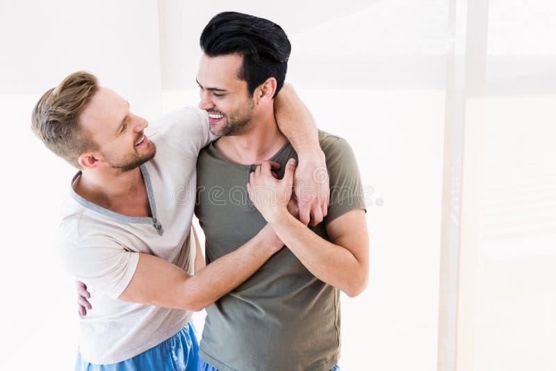 Uśmiechnięty homoseksualny pary przytulenie fotografia royalty free