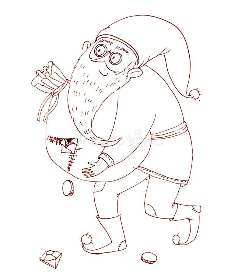 Uśmiechnięty karzeł niesie poszarpaną torbę monety pełno Ilustracja dla ilustracja wektor