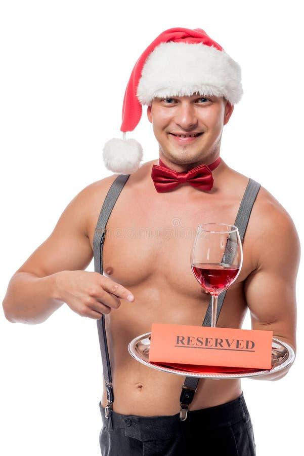 Uśmiechnięty kelner z szkłem czerwone wino obraz royalty free