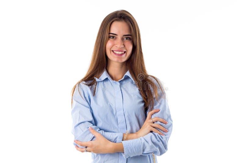 Uśmiechnięty kobiet ręk skrzyżowanie zdjęcie stock