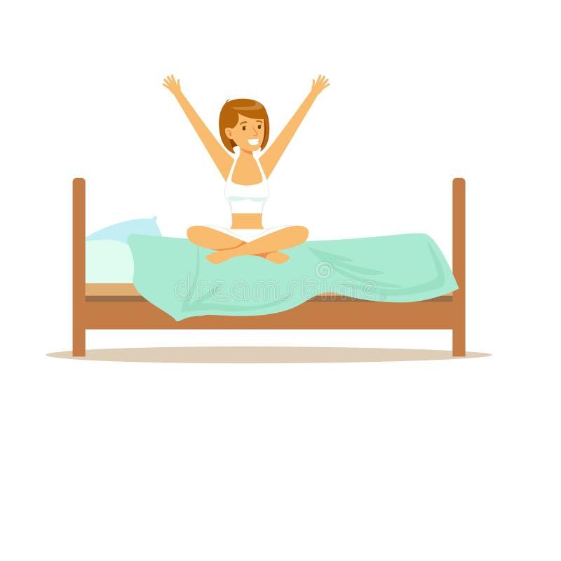 Uśmiechnięty kobieta charakter budzi się up zaczynający dobrego dnia wektoru ilustrację ilustracji