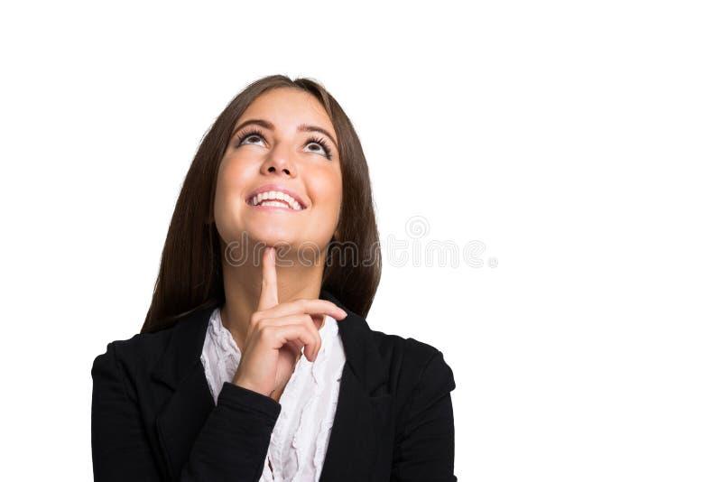 Uśmiechnięty kobieta portret odizolowywający na bielu obraz royalty free