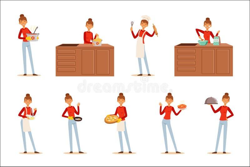 Uśmiechnięty kobieta szefa kuchni kucharz w białych fartucha narządzaniu porci i różnorodność naczynia, set kolorowy szczegółowy  royalty ilustracja