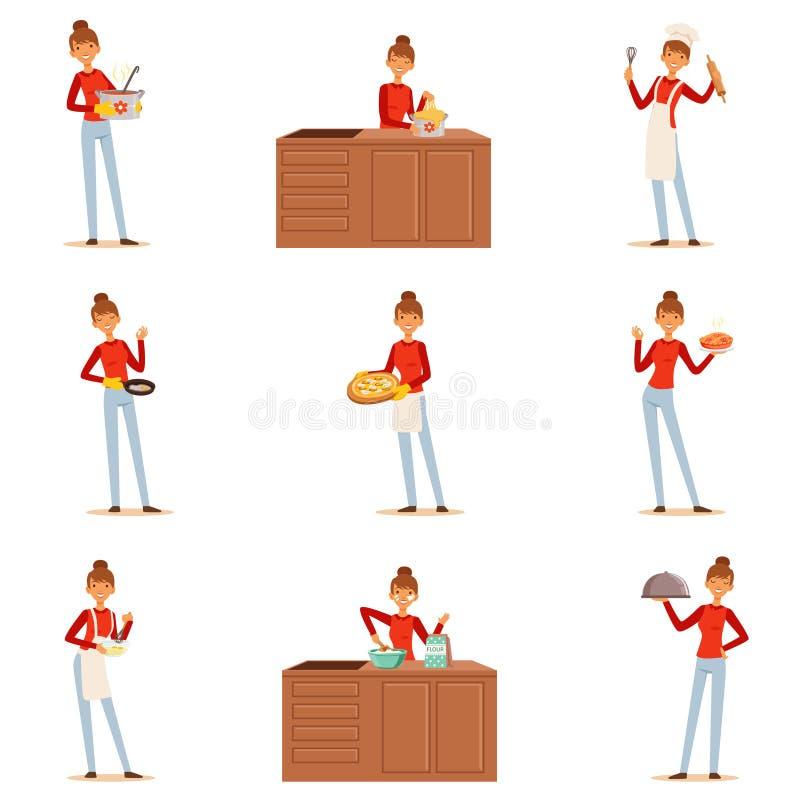 Uśmiechnięty kobieta szefa kuchni kucharz w białych fartucha narządzaniu porci i różnorodność naczynia, set kolorowy szczegółowy  ilustracji