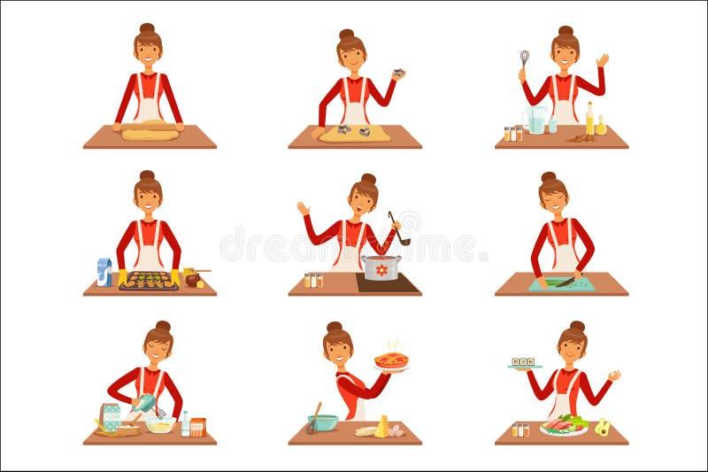 Uśmiechnięty kobieta szefa kuchni kucharz w białym fartucha pieczeniu i narządzaniu różnorodność naczynia, set kolorowy szczegóło ilustracja wektor