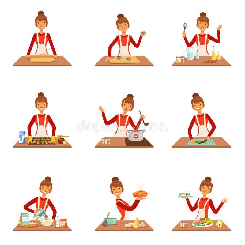 Uśmiechnięty kobieta szefa kuchni kucharz w białym fartucha pieczeniu i narządzaniu różnorodność naczynia, set kolorowy szczegóło royalty ilustracja