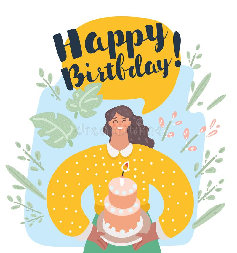 Uśmiechnięty kobiety mienia tort z zaświecającą świeczką royalty ilustracja