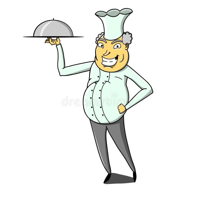 Uśmiechnięty kucharz trzyma talerza z nakrętką ilustracji
