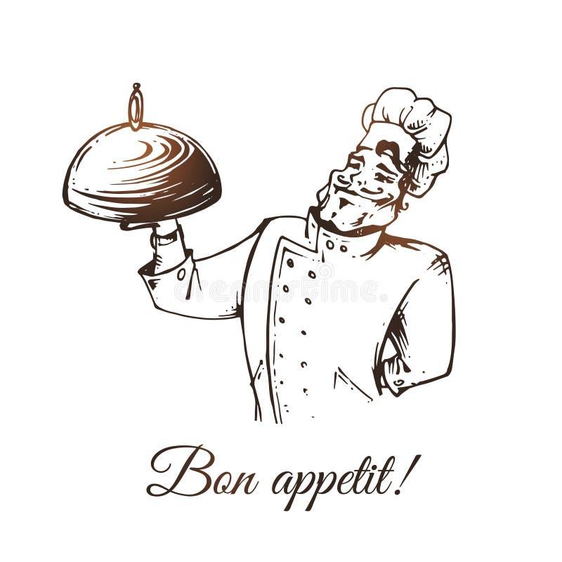 Uśmiechnięty kucharz z tacą odizolowywającą na białym tle royalty ilustracja
