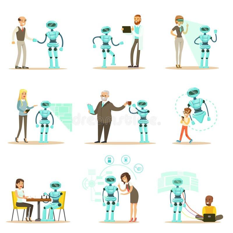 Uśmiechnięty ludzi, robota asystent I, ilustracji