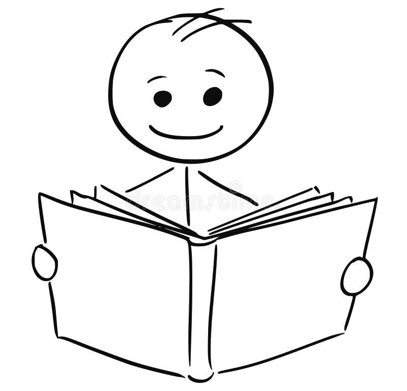 Uśmiechnięty mężczyzna czyta książkę royalty ilustracja