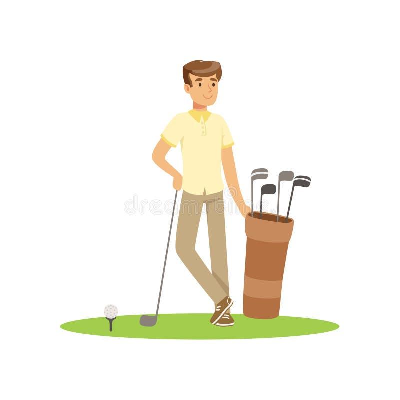 Uśmiechnięty mężczyzna golfista z golfowego wyposażenia wektoru ilustracją royalty ilustracja