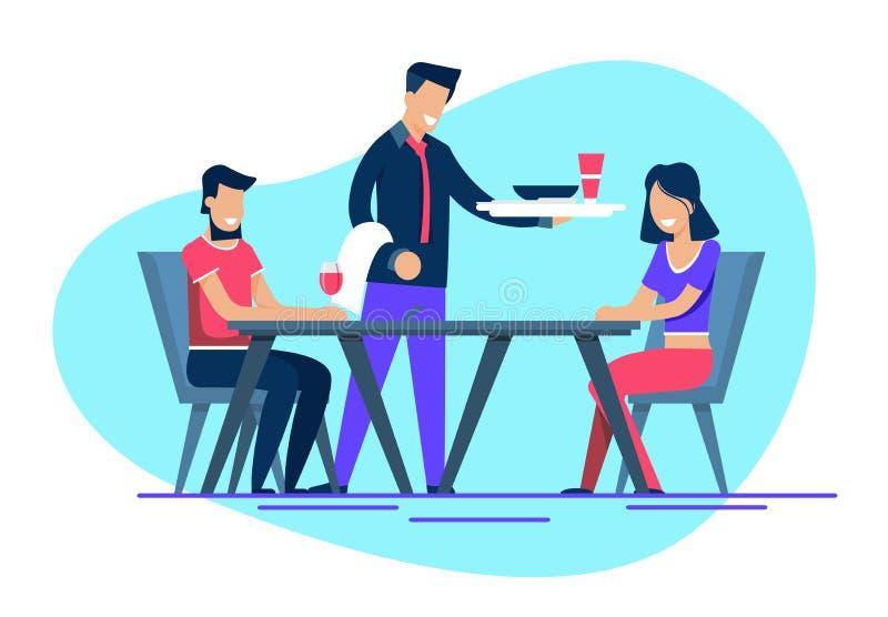 Uśmiechnięty mężczyzna i kobieta na datowanie przy restauracją royalty ilustracja