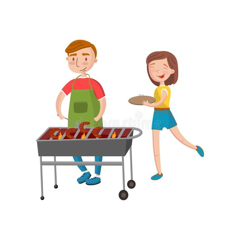Uśmiechnięty mężczyzna i kobiety kulinarny grill na kruszcowej brązownik kreskówki wektoru ilustraci ilustracji