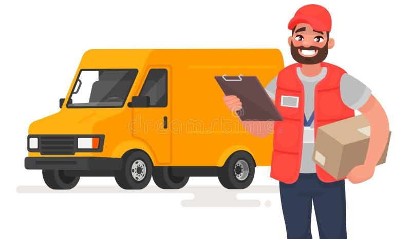 Uśmiechnięty mężczyzna kurier z pakuneczkiem na tle ciężarówka również zwrócić corel ilustracji wektora royalty ilustracja