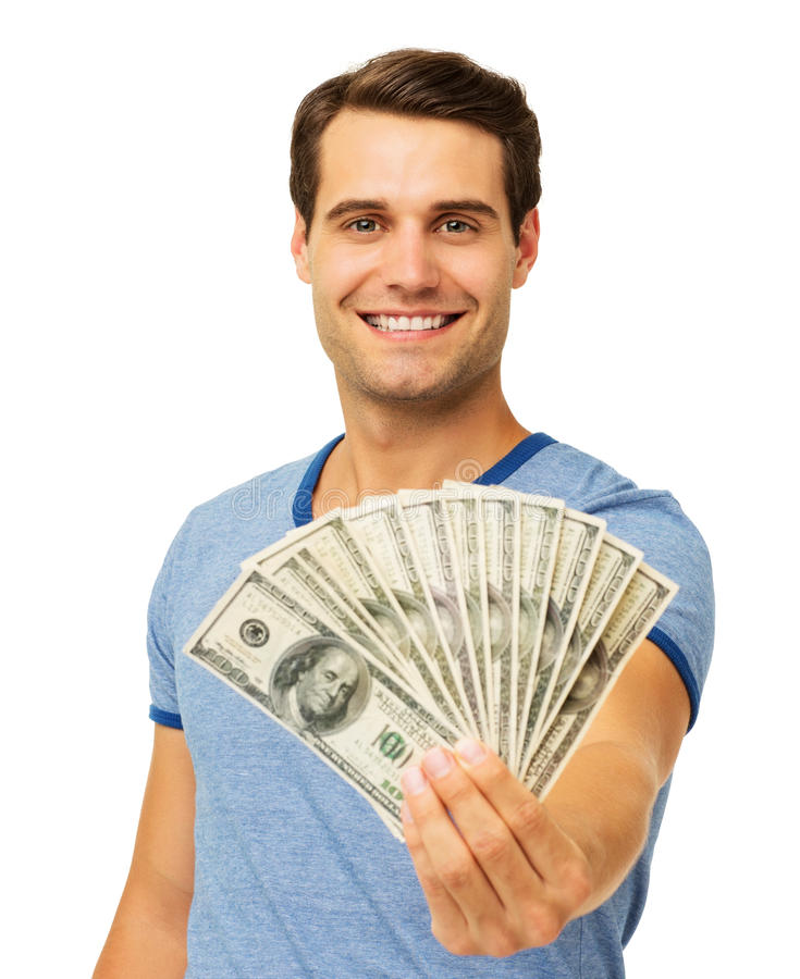 Uśmiechnięty mężczyzna mienie Wachlował My Papierowa waluta fotografia stock
