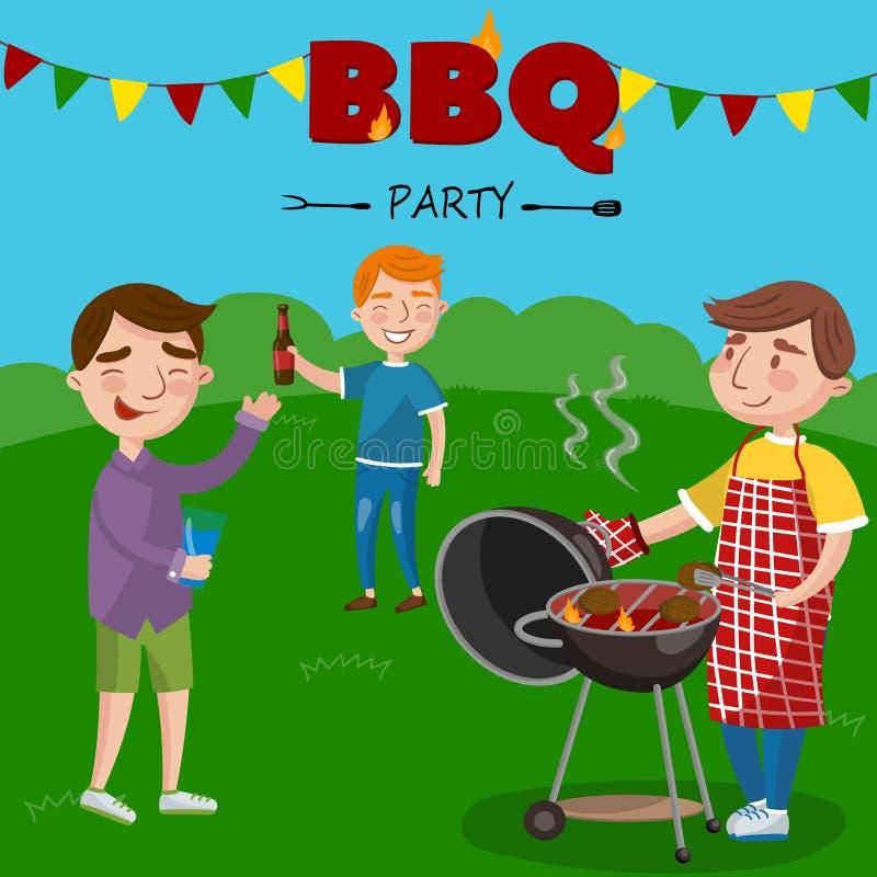Uśmiechnięty mężczyzna narządzania grill outdoors dla jego przyjaciół, BBQ chłopiec bawi się wektorową ilustrację, ilustracja wektor