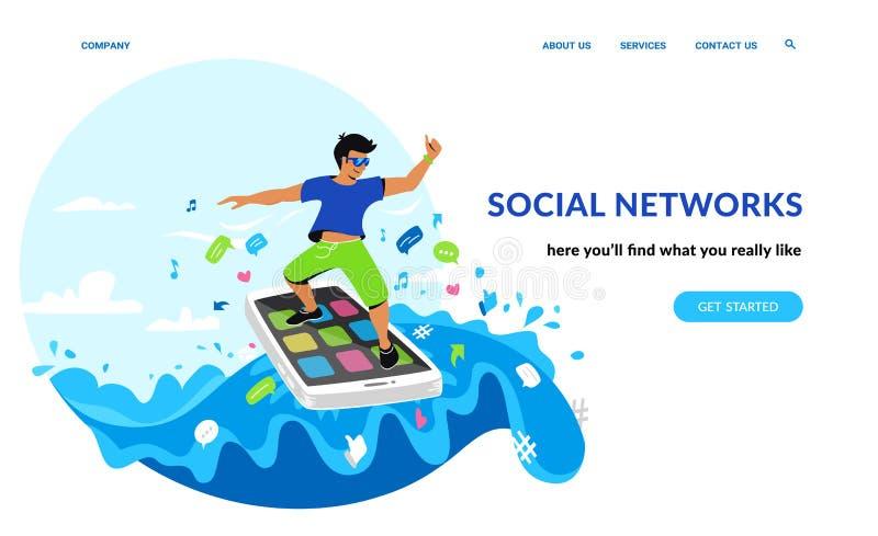 Uśmiechnięty mężczyzna surfuje internet na jego smartphone w morzu ogólnospołeczni medialni symbole ilustracji