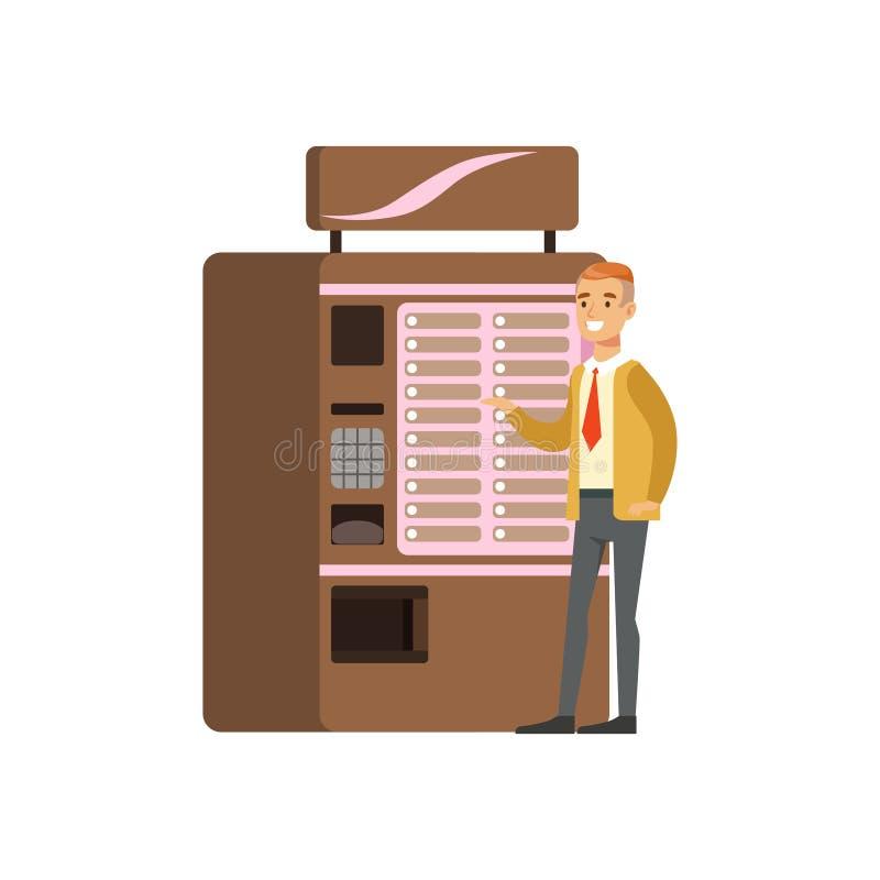 Uśmiechnięty mężczyzna używa coffe automat, automatyczny przyrząd dla gorącej napoju wektoru ilustraci royalty ilustracja