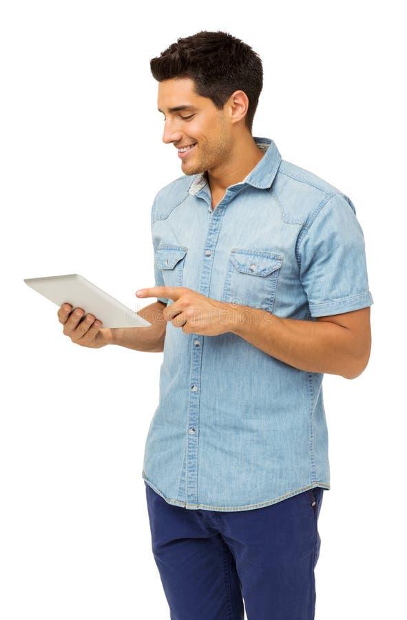 Uśmiechnięty mężczyzna Używa pastylka komputer obrazy royalty free