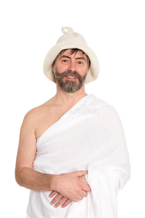 Uśmiechnięty mężczyzna w średnim wieku mężczyzna ubierał w tradycyjnym skąpaniu zdjęcia stock