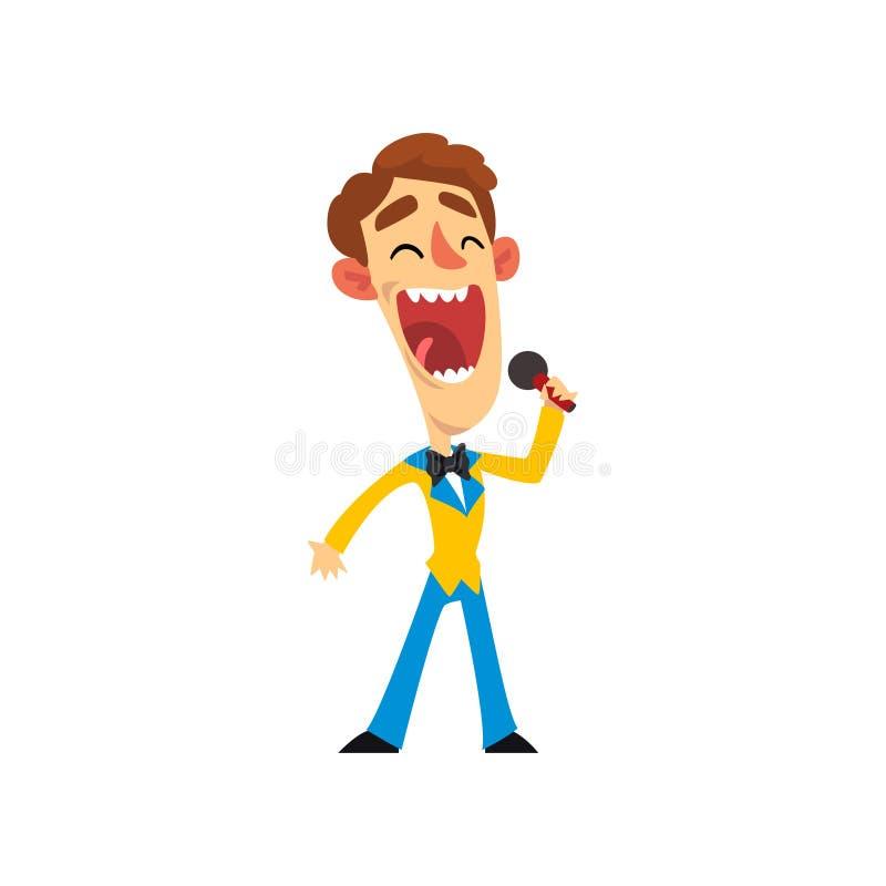 Uśmiechnięty mężczyzna z mikrofonem, gospodarz przedstawienie wektorowa ilustracja na białym tle royalty ilustracja