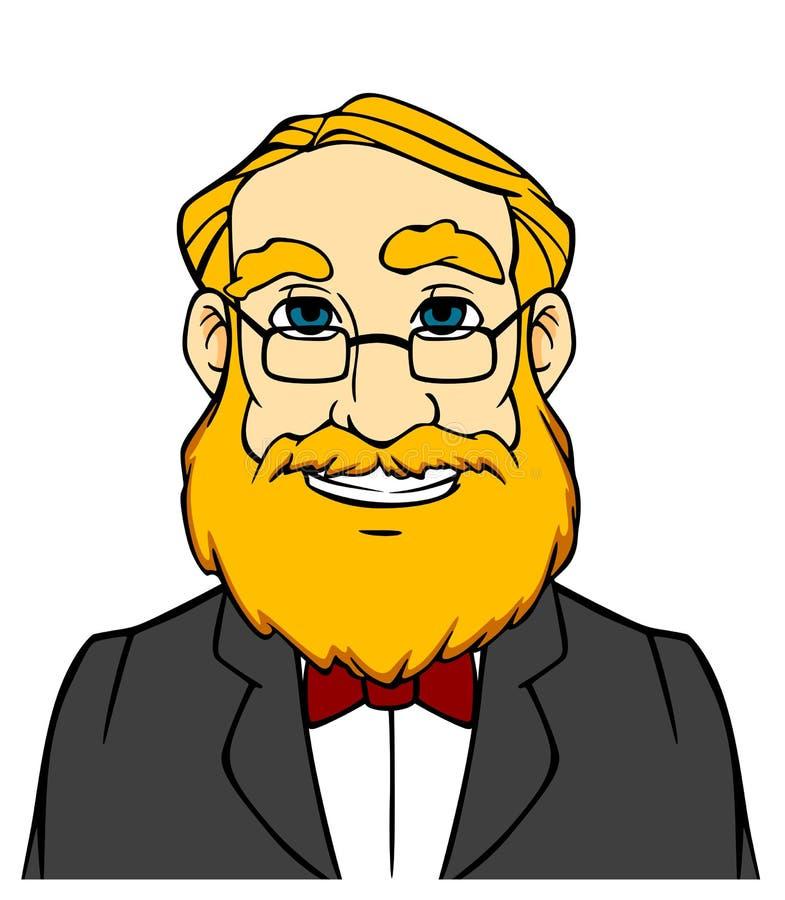 Uśmiechnięty mężczyzna z pomarańczową brodą royalty ilustracja