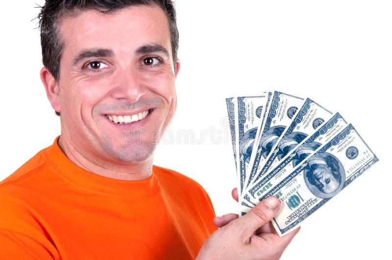 Uśmiechnięty mężczyzna z Valentin sercem w ręce obraz stock