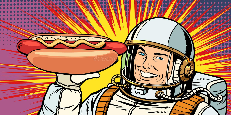 Uśmiechnięty męski astronauta przedstawia hot dog kiełbasę ilustracja wektor