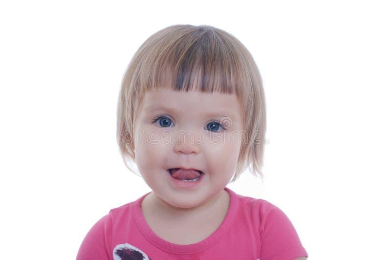 Uśmiechnięty mały dziewczynka portret odizolowywający na białym tle szczęśliwa ono uśmiecha się śliczna urocza dziecko twarz zdjęcie stock