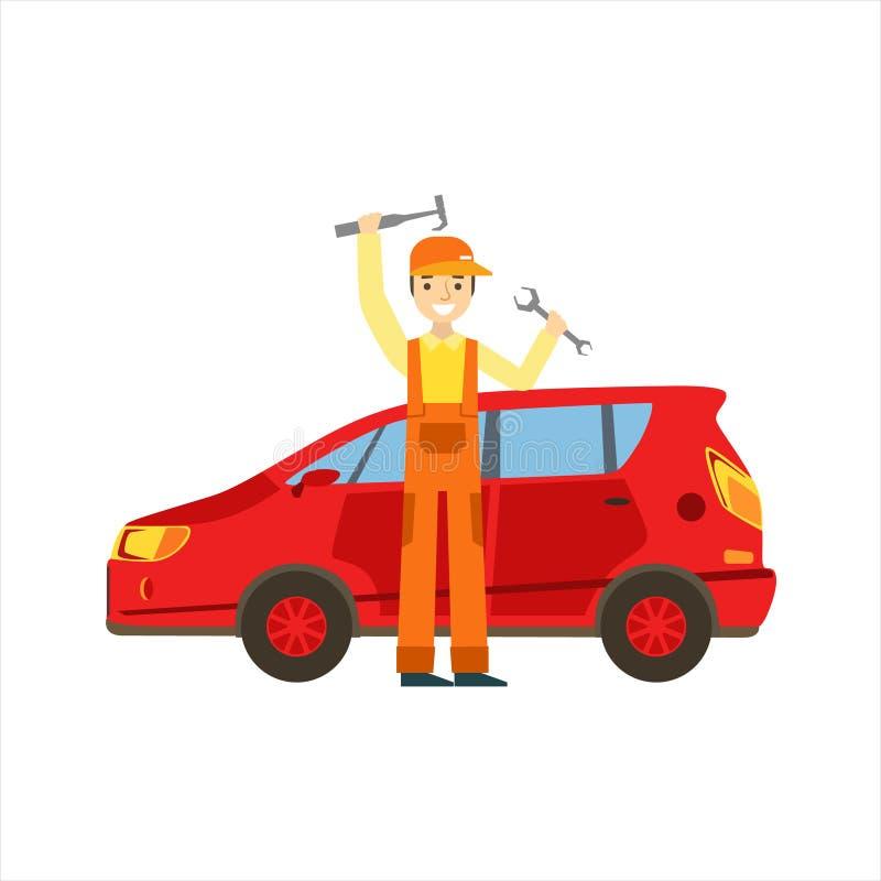 Uśmiechnięty mechanik Z wyrwaniem I młotem W garażu, samochodu warsztata usługa Remontowa ilustracja royalty ilustracja