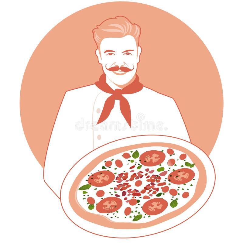Uśmiechnięty mustachioed kucharz niesie caprese pizzę z bandany wokoło jego szyi ilustracja wektor