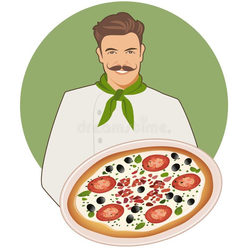 Uśmiechnięty mustachioed kucharz niesie caprese pizzę z bandany wokoło jego szyi royalty ilustracja