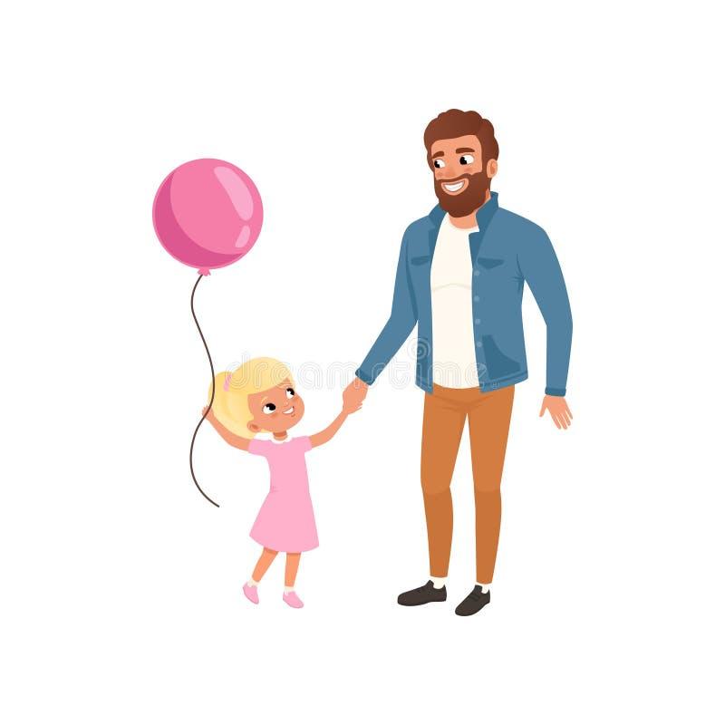 Uśmiechnięty ojciec i jego mała córka z menchia balonem, kochającym ojczulek, dzieciak, tata i jego dziecko wydaje czas wpólnie, royalty ilustracja
