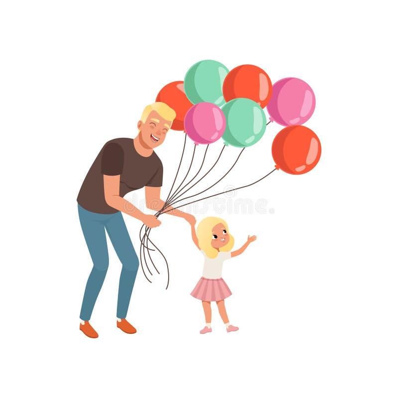 Uśmiechnięty ojciec i jego mała córka z wiązką balony, kochający ojczulek, dzieciak, tata i jego wydaje czas wpólnie, royalty ilustracja
