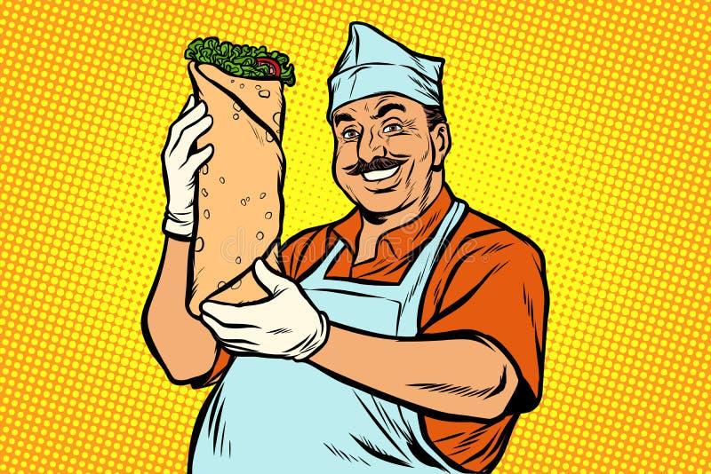 Uśmiechnięty Orientalny uliczny karmowy szef kuchni Kebab Shawarma Doner ilustracja wektor