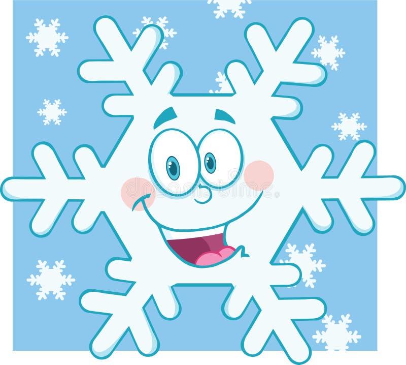 Uśmiechnięty płatek śniegu kreskówki maskotki charakter royalty ilustracja