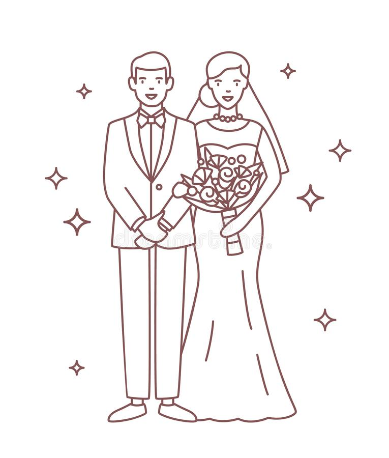 Uśmiechnięty państwo młodzi rysujący z konturowymi liniami na białym tle Portret szczęśliwi nowożeńcy stoi wpólnie royalty ilustracja