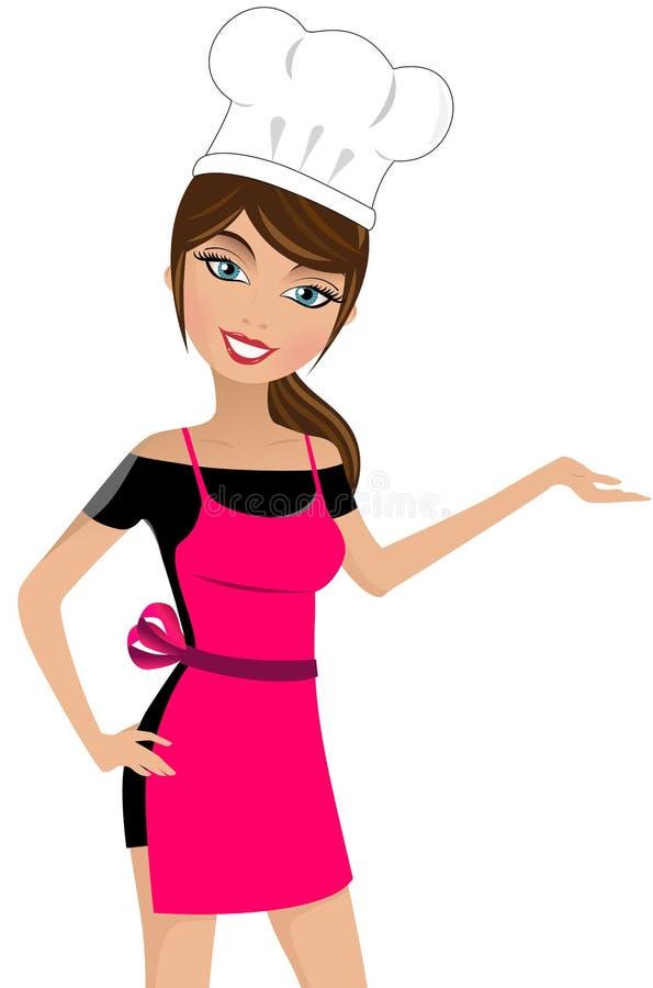 Uśmiechnięty Piękny kobieta szefa kuchni Przedstawiać royalty ilustracja