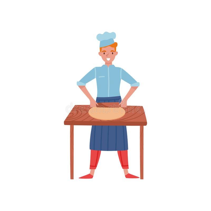 Uśmiechnięty piekarniany toczny ciasto na drewnianym kuchennym stole Mężczyzna w pracować mundur i fartucha Płaski wektorowy proj royalty ilustracja